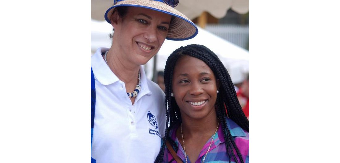 Former IPP scholarship recipient Shelly-Ann Fraser-Pryce at the 2012 Bazaar