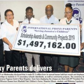 Jamaica Observer article on Bazaar funds handover ceremony